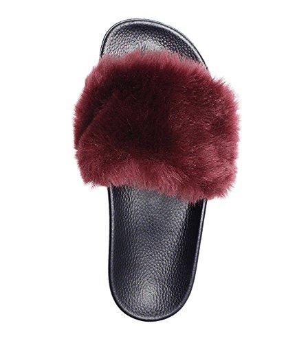 NewYouDirect Fur Slides for Women,Fuzzy Sandals Slippers Flip Flop Furry Slides Soft Flat for Indoor Outdoor