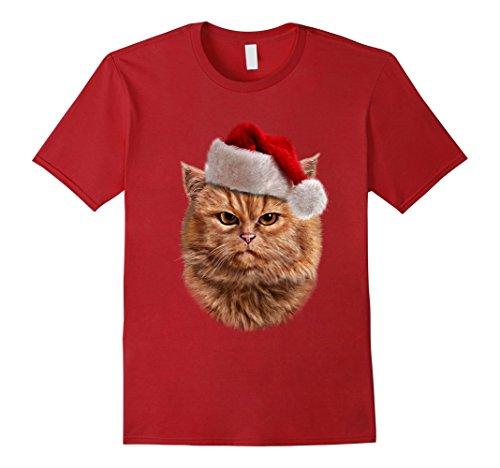 Mens Disgruntle Orange Tabby Cat in Santa Hat, Christmas T-Shirt 2XL - Hat Cat Shirt The Red In
