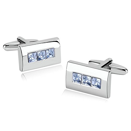 KnSam Stainless Steel Cufflinks for Mens Rectangle with Zirconia - Ey Oak