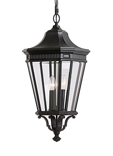 Lane Cotswold Pendant Outdoor (Feiss OL5412BK Cotswold Lane Outdoor Pendant Lantern, 3-Light, 180watts, Black (12