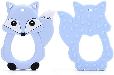 GearNut Baby Teether Teething Toy Includes Clip with Mini Figures. Silicone Teether Cute Fox Design Pacifier Clip Massaging and Soothing Pastel Blue