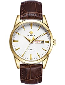 WWOOR Men's Watch Nylon Analog Quartz Waterproof Watch with Date Fashion Business Casual Gift Wrist Watches (Gold)