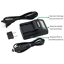 Kastar Ultra Fast Charger(3X faster) Kit and Battery (4-Pack) for Panasonic VW-VBK360 work with Panasonic HC-V10, HC-V100, HC-V100M, HC-V500, HC-V500M, HC-V700, HC-V700M, HDC-HS60, HDC-HS80, HDC-SD40, HDC-SD60, HDC-SD80, HDC-SD90, HDC-SDX1H, HDC-TM40, HDC
