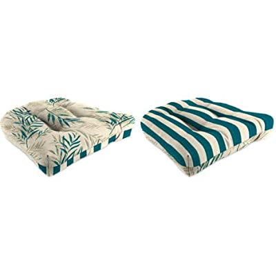Cushion Reversible Outdoor Wicker Chair Eventide Egret/Mako Egret 1 Pack: Kitchen & Dining