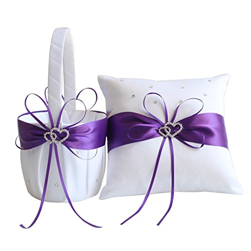 (Awtlife 2pcs Sets Flower Girl Basket and Ring Pillow Purple Wedding Decor)