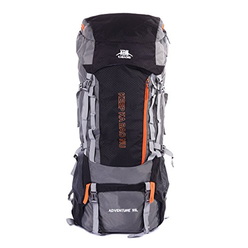 Mooedcoe 95L Internal Frame Mountaineering Backpack for Men Outdoor Hiking Camping Large Backpack (Black)