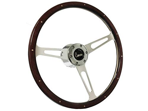 1969-1989 Chevy Camaro S6 Classic Riveted Espresso Stained Wood Steering Wheel Chrome Kit | Camaro Script - Espresso Wood Trim Kit