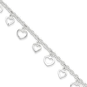 PriceRock Sterling Silver 9 Polished Heart Anklet 9 Inches Long