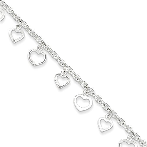 Sterling Silver 9 Polished Heart Anklet 9 Inches Long