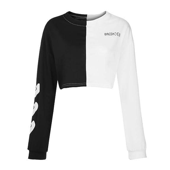 e67242b4fab Amazon.com  Amiley Women Patchwork Crop Top Sweatshirt Broken Heart Letter  Round Neck Pullover Long Sleeve Tops Gray  Shoes