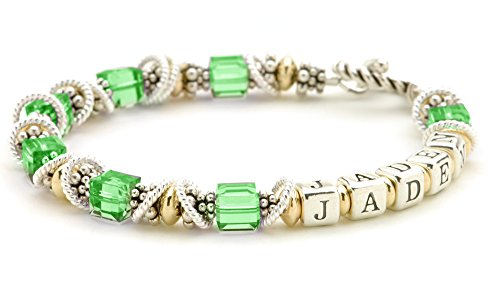 Personalized Mothers Jewelry - August Birthday Crystal, Sterling Silver & 14k Gold Filled Beaded Bracelet ()