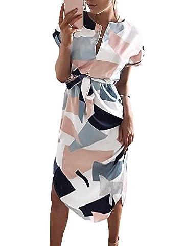 La Sophia Summer Casual V-Neck Geometric Pattern Midi Dress (Dresses With Geometric Pattern)