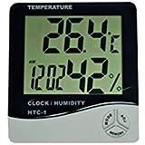 HTC-1 Digital LCD Temperature Humidity Meter Alarm Clock + Calibration Certificate + 3 Months Warranty