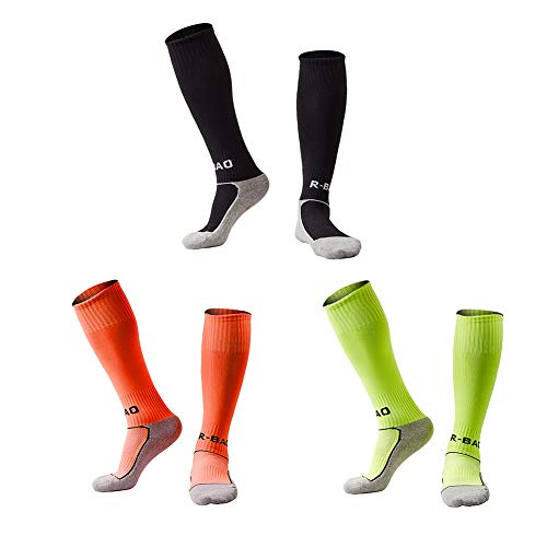 Welltree Boys & Girls Knee High Cotton Soccer Socks/Kids Football Sport Long Socks (Kid/Youth)/3 Pack Green + Orange + ()