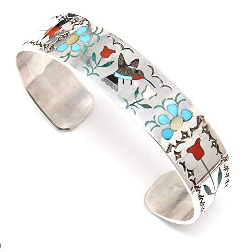 - L7 Enterprises Intricately Inlayed Zuni Bracelet Featuring A Humming Bird