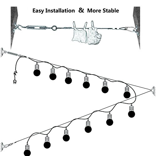 Belio String Light Hanging Kit,Stainless Steel Cable for Outdoor Lights,Globe String Light Suspension Kit Include 164 FT Wire Rope Cable Turnbuckle and Hooks by Belio (Image #3)