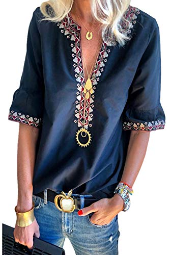 Embroidered Short Sleeve Work Shirt - Chase Secret Womens Boho Embroidered V Neck Short Sleeve Summer Shirt Blouses Tops XL Blue