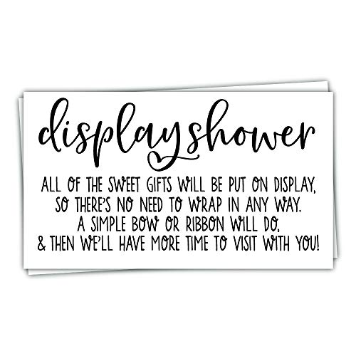 50 Display Shower Cards - Modern Script Design - Unwrapped Gift Request Invitation Inserts for Bridal or Baby Shower