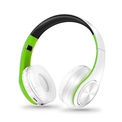 Leoie ワイヤレスヘッドフォン Bluetoothヘッドセット 折りたたみ式ヘッドホン 調節可能なイヤホン マイク付き PC 携帯電話 Mp3用, 200FE2CCEEC5F070  グリーンホワイト B07GQMP852