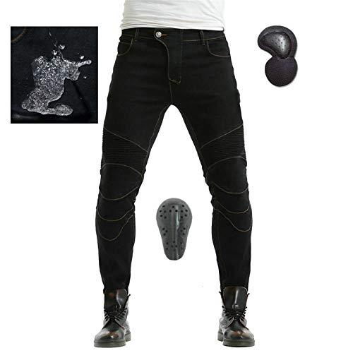 NXSP Herren Motorrad Jeans Hose, Sportliche Stretch Motorradhose Mit 4 Schutzausrüstungen, Wasserdichte Sturzsichere…