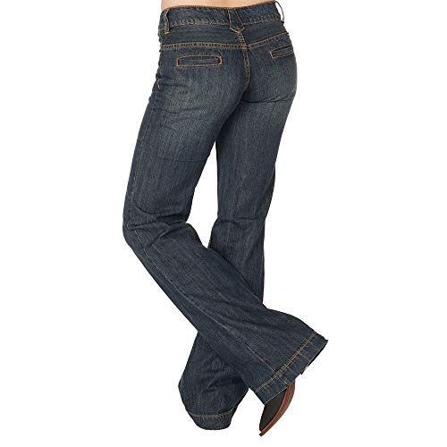 (Stetson Apparel Womens Relaxed Fit Trouser Jeans 4 x 36L Blue )