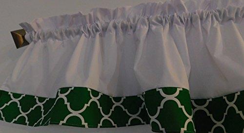 "Valance Kelly green and white Trellis Window curtain / Kitchen, Bath, Laundry, Camper, RV, basement, kids playrooms, dorm, Bedroom , daycare schools, qua-trefoil Moroccan , 57"" wide"