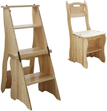 CCSU Escabeau en Bois Portable échelle Pliante Chaise Tabouret Polyvalent en Bois Massif intérieur escalier escalier Cuisine Salle de Bains Meubles de Bureau