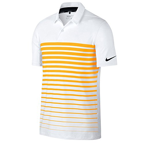 - NIKE Dry Fit Heather Stripe OLC Golf Polo 2017 White/Laser Orange/Black X-Large