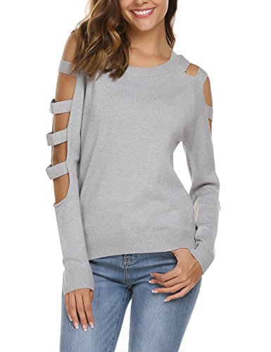 Soteer Women's Cashmere Cold Shoulder Long Sleeve Turtleneck Vintage Pullover Sweater Dark Grey (Cashmere Vintage Sweater)