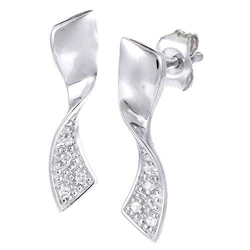Revoni Bague en or blanc 9carats-Mesdames Diamant de Mesdames Boucles d'oreilles