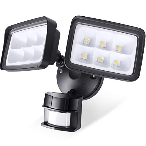 - Amico 42W LED Security Lights Motion Sensor Outdoor, Full Metal Adjustable Head Flood light, 5000K, 3300LM, ETL Certified & IP65 Waterproof, Motion Activated Super Bright for Yards, Doorway and Garage