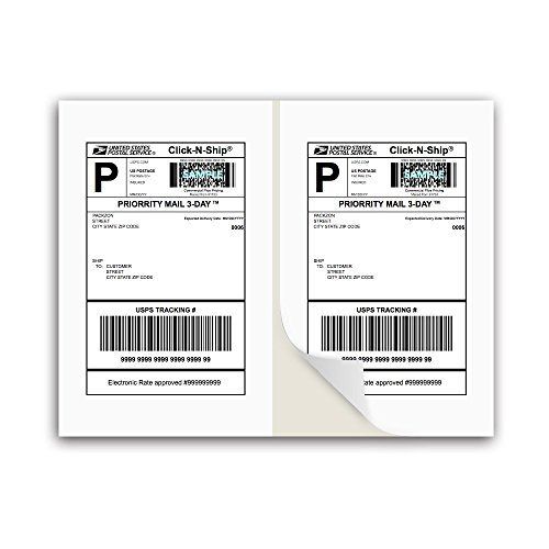 PACKZON Shipping Labels with Self Adhesive, Square Corner, for Laser & Inkjet Printers, 8.5 x 5.5 Inches, White, Pack of 200 Labels