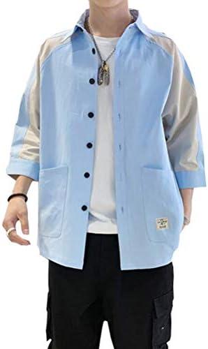 シャツ メンズ シャツ 七分袖 100%綿 メンズ カジュアル シャツ 春 夏 秋 ジャケットシャツ ファッション ポロシャツ メンズ Tシャツ オックスフォード ポケット シャツ 通気性 M-3XL
