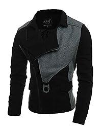 Allegra K Men Turn Down Collar Inclined Zipper Color Block Slim Fit Jacket