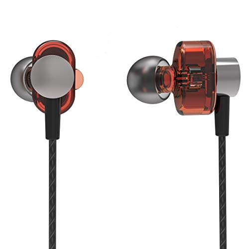 PHB in Ear Headphones Wired Earbuds with Mic Stereo Sweatproof Powerbeats High Definition Bass Headset Noise Cancelling Gaming Plugs, for Mobile Games Sports Gym Outdoor and Noisy Environment (High Headphones Stereo Definition)