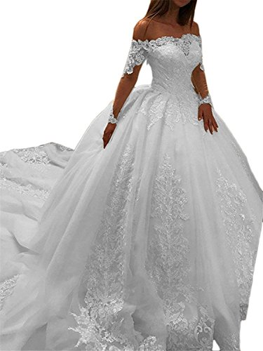 Youyougu Women's Ball Gown Long Sleeve Lace Bridal Gown Beaded Appliques Wedding Dress White Size 18 ()