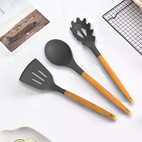 Cooking Utensils Set, HKJ Chef Kitchen Utensil Set Silicone Cooking Utensils, 7 Piece Kitchen Tool Set with Wooden Handle Cookware Sets, Nonstick, Heat Resistant, BPA-Free (Gray)
