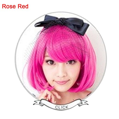 top0dream Synthetic for Wigs Anime Costume Cosplay Straight Short Curly Hair Wig Women Lovely Bob Hairpiece Synthetic Loose Curly Front Wig for Women Natural Heat Resistant Hair- Rose Red