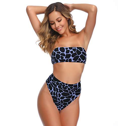 (GEMAN Women's Sexy Strapless High Waisted Leopard Print Bandeau Bikini Sets Two Piece Swimsuit Bathing Suit (Leopard, S))