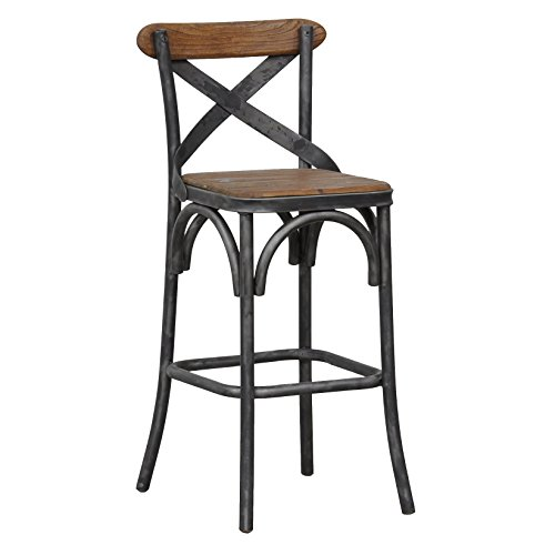 Industrial Rustic Reclaimed Pine Seat and Iron Counter Stool with Brown and Black Finish - Includes Modhaus Living Pen