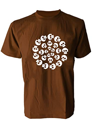 SODAtees Skull Heads Men's T-Shirt Bone Graphic Design Tee -Brown-L ()
