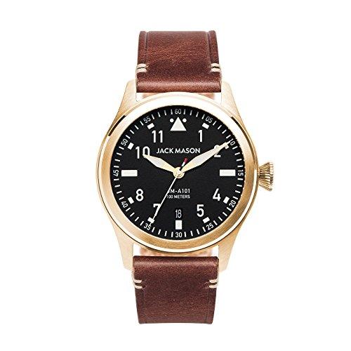 (Jack Mason Men's Watch Aviator Brown Leather Strap JM-A101-206 )