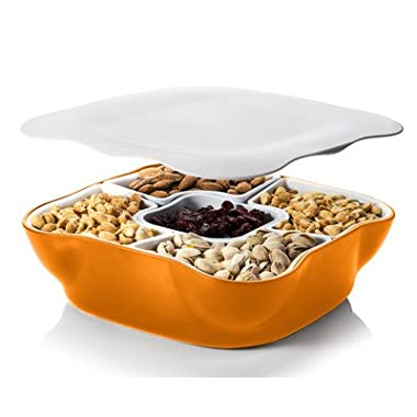 Creative Multi Sectional Snack Serving Tray Set with Lid. BPA Free. Can Hold Dried Fruits, Nuts, Candies, and More.