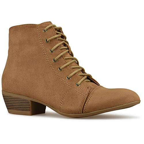 Premier Standard - Western Cowgirl Lace up Closed Toe Bootie - Low Heel Casual Comfortable Cowboy Walking Boot Camel Su F4*
