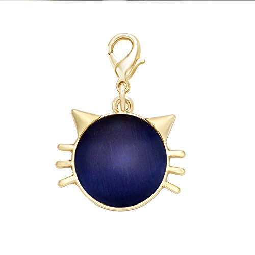 Necklace Key Chain Zipper Pull - SENFAI Blue Cat's Eye Stone Cat Face Charms Great for Bracelet Necklace Keychain ( Gold )