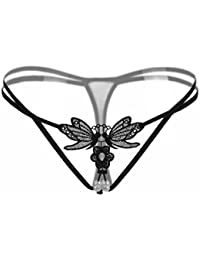 Butterfly Embroidery Double Pearls Lingerie Thongs Panties Lace T-Back Sexy G Strings for Women WXLX 2039