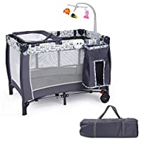 Custpromo 3 in 1 Foldable Baby Playard Portable Travel Baby Crib Playpen Infant Bassinet Bed for Sleeping Baby Changing Table w/Carry Bag, Music Box and Wheels & Brake (Gray)