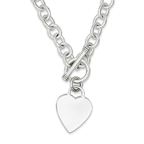 Toggle Heart Large (Sterling Silver Heart Fancy Link Toggle Necklace 18 Inches)