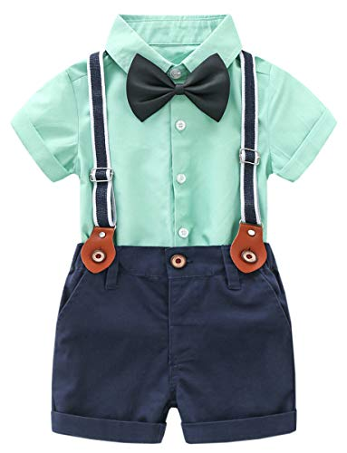 DAIMIDY Baby Boys Summer Clothes, Short Sleeves Button Down Dress Shirt and Suspender Pants Set Tuxedo Gentlemen Outfit with Bow Tie, Green, 2-3 Years = Tag 100