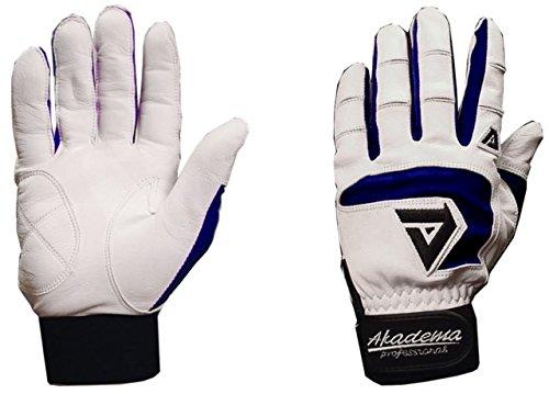 Akadema White/Navy Professional Batting Gloves Large by Akadema